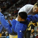 Jason Morris Judo Center's Jeremy Liggett (white) sweeps his opponent at the 2008 Olympic judo trials